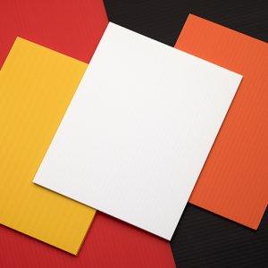 Présentation de 3 feuilles Hi-Core: jaune, blanche et orange